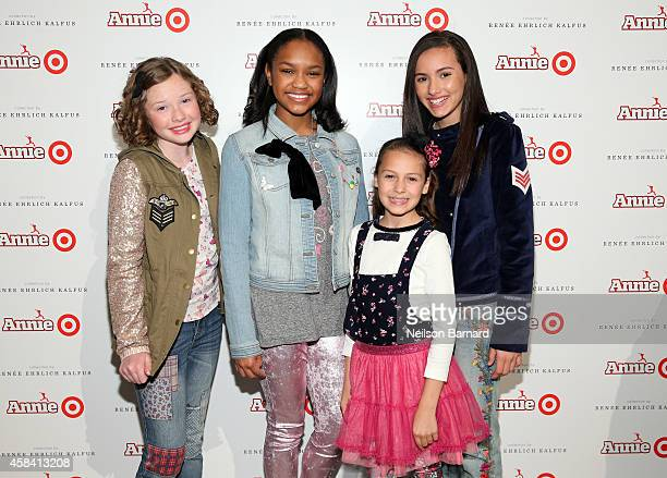 Zoe Margaret Colletti Eden DuncanSmith Nicolette Pierini and Amanda Troya attend Annie For Target launch event at Stage 37 on November 4 2014 in New...