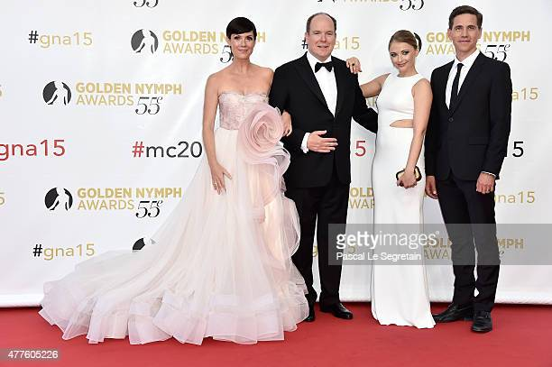 Zoe McLellan Prince Albert II of Monaco Elisabeth Harnois and Brian Dietzen attend the closing ceremony of the 55th MonteCarlo Television Festival on...