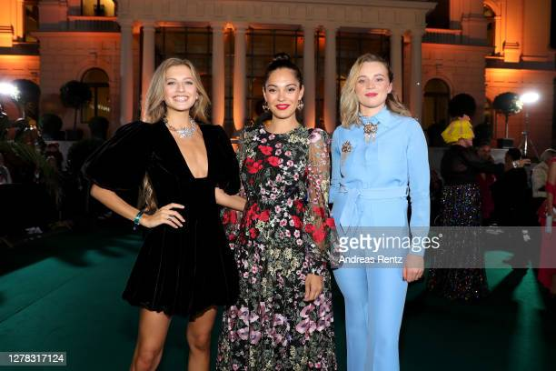 Zoe Pastelle, Nilam Farooq and Luna Wedler arrive for the Award Night Ceremony of the 16th Zurich Film Festival at Opera House on October 03, 2020 in...