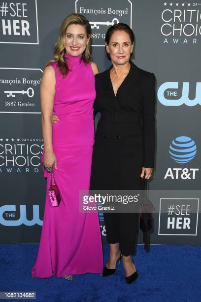 Zoe Perry and Laurie Metcalf attend the 24th annual Critics' Choice Awards at Barker Hangar on January 13 2019 in Santa Monica California