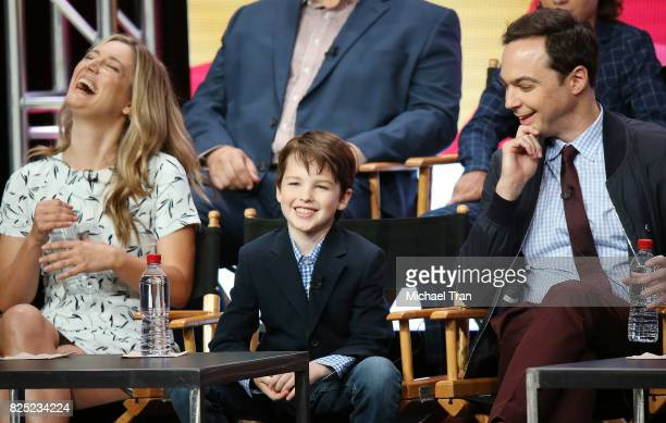 Zoe Perry Iain Armitage and Jim Parsons of 'Young Sheldon' speak onstage during the 2017 Summer TCA Tour CBS Panels held at Various Locations on...