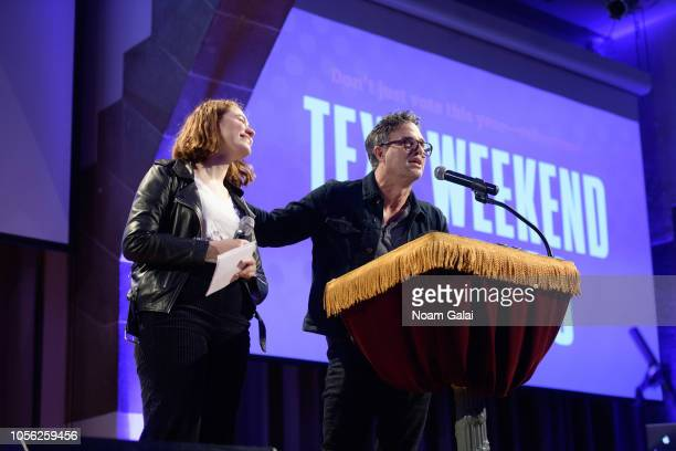 Zoe Petrak and actor Mark Ruffalo speak during Swing Left's 'The Last Weekend' Election Rally at Cooper Union on November 1 2018 in New York City