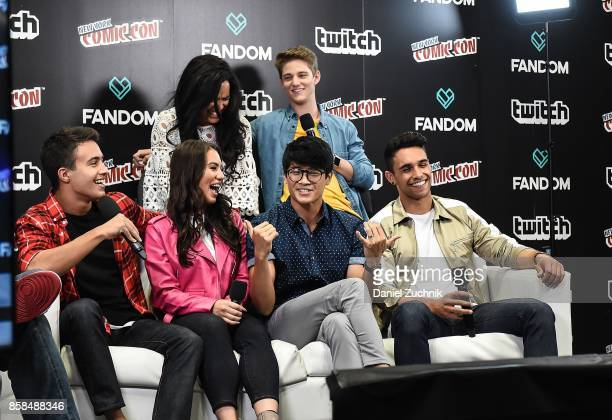 Zoe Robins Nico Greetham William Shewfelt Chrysti Ane Peter Sudarso and Jordi Webber of Power Rangers Ninja Steel speak on the Live Stage during New...