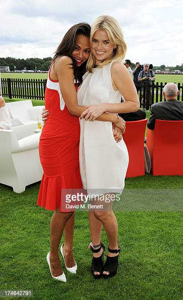 Zoe Saldana and Alice Eve attend the Audi International Polo at Guards Polo Club on July 28 2013 in Egham England