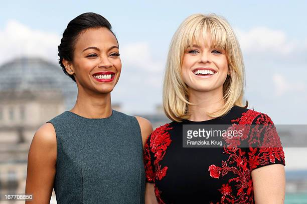 Zoe Saldana and Alice Eve attend the 'Star Trek Into Darkness' Photocall at China Club on April 28 2013 in Berlin Germany