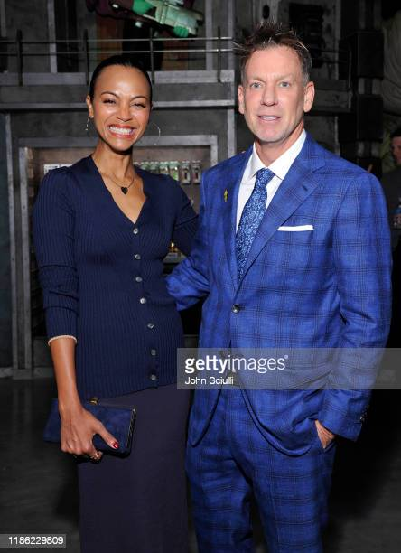 Zoe Saldana and Brian Mariotti attend the Funko Hollywood VIP Preview Event at Funko Hollywood on November 07 2019 in Hollywood California