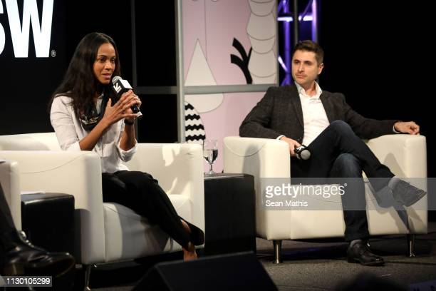 Zoe Saldana and Daniel Batista speak onstage at Featured Session: Changing the Narrative with Zoe Saldana during the 2019 SXSW Conference and...