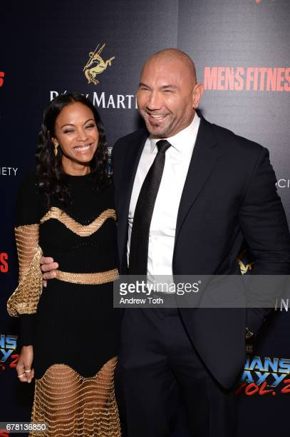 "Zoe Saldana and Dave Bautista attend a screening of Marvel Studios' ""Guardians of the Galaxy Vol. 2"" hosted by The Cinema Society at the Whitby Hotel..."