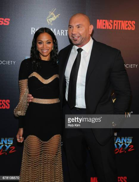 Zoe Saldana and Dave Bautista attend the screening of 'Guardians of the Galaxy Vol. 2' presented by Remy Martin at The Whitby Hotel on May 3, 2017 in...