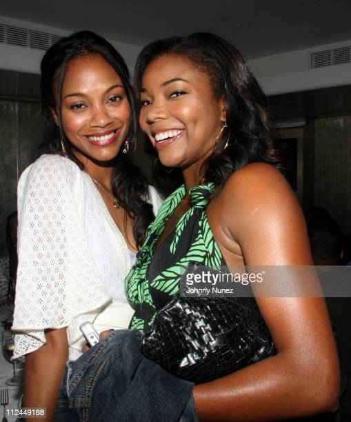 Zoe Saldana and Gabrielle Union during Hill Harper Letter's to a Young Brother Educational Tour Launch Hosted by Abercrombie and Fitch at TBD in New...