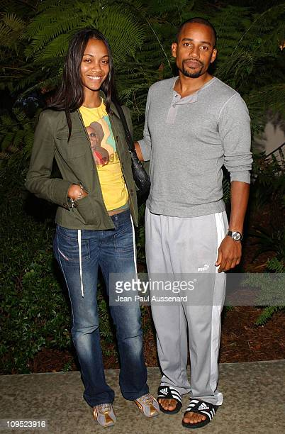 Zoe Saldana and Hill Harper during Russell Simmons 'Work HardPlay Harder' Lounge Sponsored by Courvoisier and W Hotel Arrivals at Poolside at W Hotel...