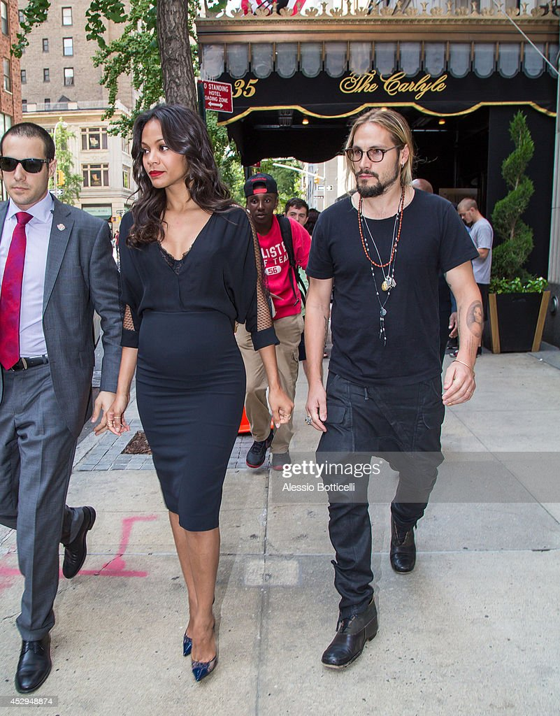 Zoe Saldana and husband Marco Perego are seen on July 30, 2014 in New York City.
