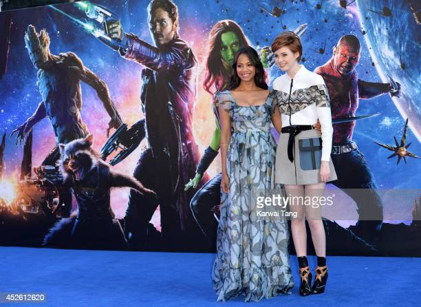 Zoe Saldana and Karen Gillan attend the European Premiere of Guardians of the Galaxy at Empire Leicester Square on July 24 2014 in London England
