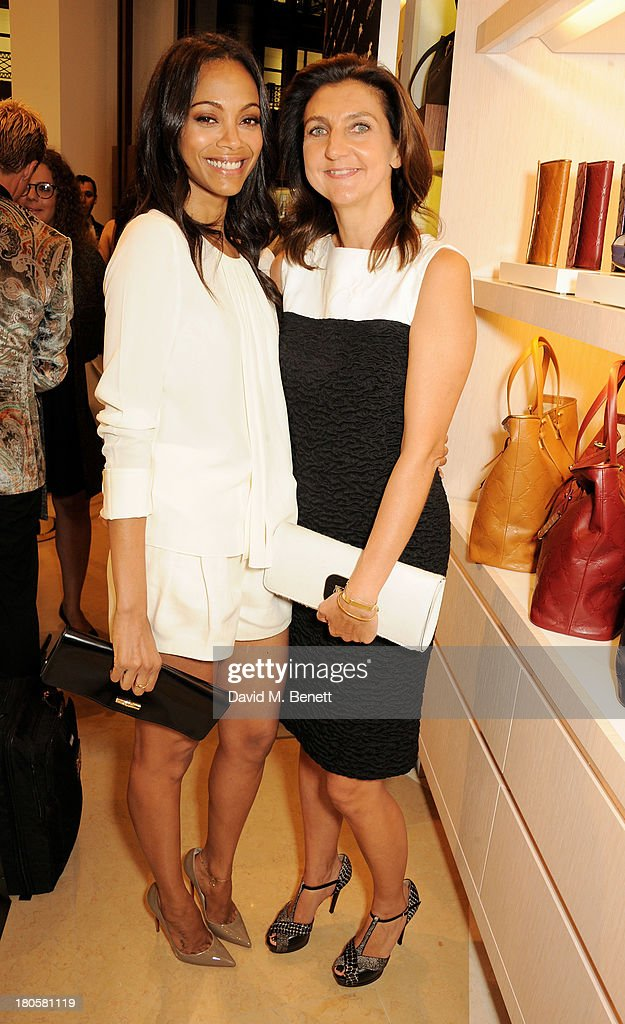 Zoe Saldana (L) and Longchamp Creative Director Sophie Delafontaine attend the launch of the Longchamp London flagship store on September 14, 2013 in London, England.