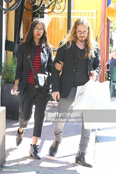 Zoe Saldana and Marco Perego are seen in Los Angeles on February 12, 2015 in Los Angeles, California.
