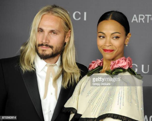 Zoe Saldana and Marco Perego arrive at the 2017 LACMA Art + Film Gala honoring Mark Bradford and George Lucas at LACMA on November 4, 2017 in Los...