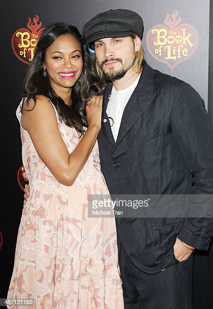 "Zoe Saldana and Marco Perego arrive at the Los Angeles premiere of ""Book Of Life"" held at Regal Cinemas L.A. Live on October 12, 2014 in Los Angeles,..."