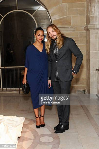 Zoe Saldana and Marco Perego attend LAXART Gala at Greystone Mansion on September 27 2014 in Beverly Hills California