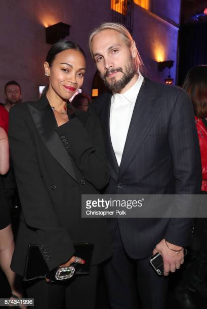 Zoe Saldana and Marco Perego attend the after party for the screening of 'Hostiles' at AFI FEST 2017 Presented By Audi at TCL Chinese Theatre on...