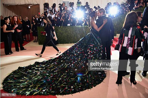 Zoe Saldana and Marco Perego attend the 'Manus x Machina Fashion In An Age Of Technology' Costume Institute Gala at Metropolitan Museum of Art on May...