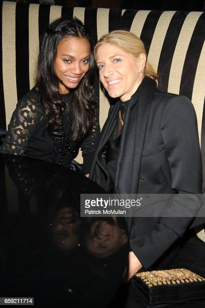 Zoe Saldana and Petra Flannery attend AMY SACCO and SIR PHILLIP GREEN Celebrate TOPMAN at Bungalow 8 on February 15 2009 in New York City