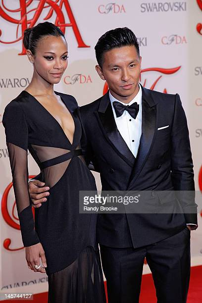 Zoe Saldana and Prabal Gurung attend 2012 CFDA Fashion Awards at Alice Tully Hall on June 4, 2012 in New York City.