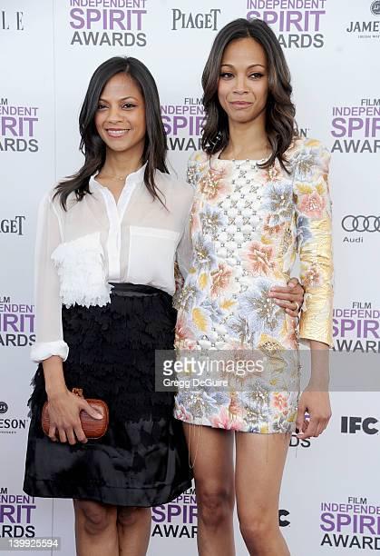 Zoe Saldana and sister Cicely Saldana arrive at the 2012 Film Independent Spirit Awards at Santa Monica Pier on February 25, 2012 in Santa Monica,...