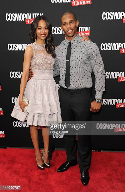 Zoe Saldana and Victor Cruz attends the Cosmopolitan For Latina's Premiere Issue Party at Press Lounge at Ink48 on May 9, 2012 in New York City.