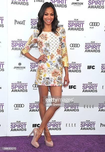 Zoe Saldana arrive at the 2012 Independent Spirit Awards at Santa Monica Pier on February 25, 2012 in Santa Monica, California.