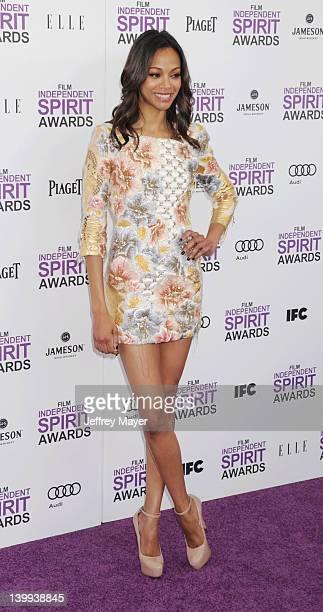 Zoe Saldana arrives at the 2012 Film Independent Spirit Awards at Santa Monica Pier on February 25, 2012 in Santa Monica, California.
