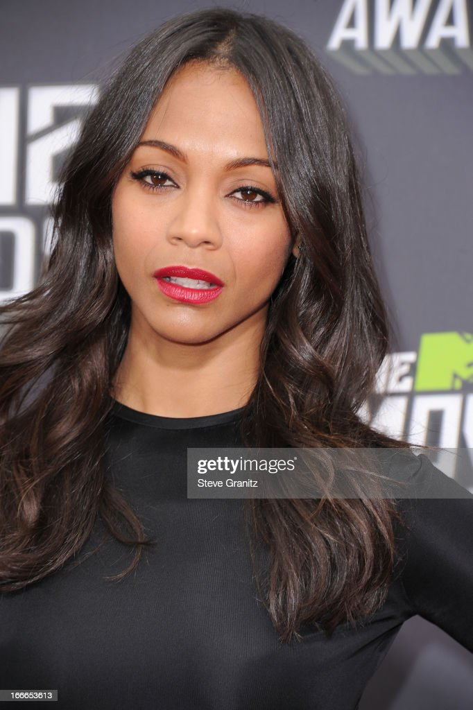 Zoe Saldana arrives at the 2013 MTV Movie Awards at Sony Pictures Studios on April 14, 2013 in Culver City, California.