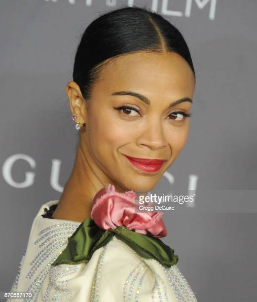 Zoe Saldana arrives at the 2017 LACMA Art Film Gala honoring Mark Bradford and George Lucas at LACMA on November 4 2017 in Los Angeles California