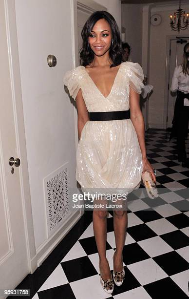 Zoe Saldana arrives at the Golden Globes Party Hosted by T Magazine and Dom Perignon at Chateau Marmont on January 15 2010 in Los Angeles California