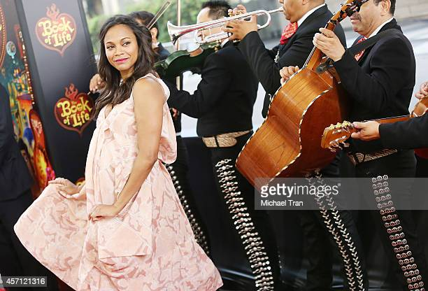 Zoe Saldana arrives at the Los Angeles premiere of Book Of Life held at Regal Cinemas LA Live on October 12 2014 in Los Angeles California