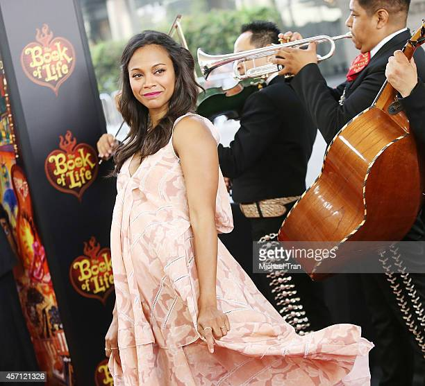 "Zoe Saldana arrives at the Los Angeles premiere of ""Book Of Life"" held at Regal Cinemas L.A. Live on October 12, 2014 in Los Angeles, California."