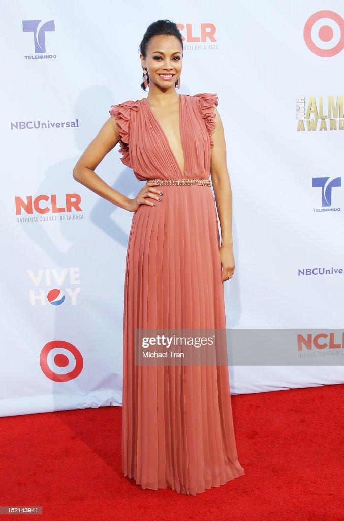 Zoe Saldana arrives at the NCLR 2012 ALMA Awards held at Pasadena Civic Auditorium on September 16, 2012 in Pasadena, California.