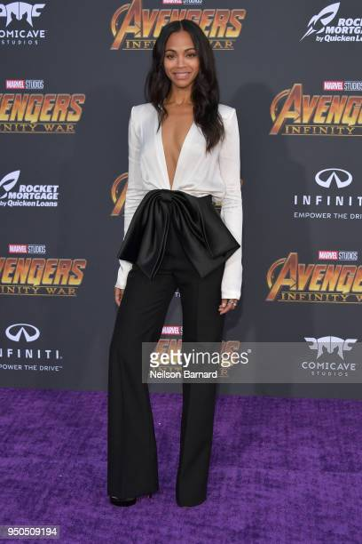 Zoe Saldana arrives at the Premiere Of Disney And Marvel's 'Avengers Infinity War' on April 23 2018 in Los Angeles California