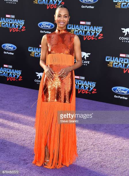 Zoe Saldana arrives at the Premiere Of Disney And Marvel's Guardians Of The Galaxy Vol 2 at Dolby Theatre on April 19 2017 in Hollywood California