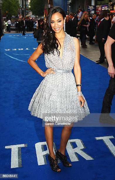 Zoe Saldana arrives for the UK Film Premiere of 'Star Trek' at the Empire Leicester Square on April 20 2009 in London England