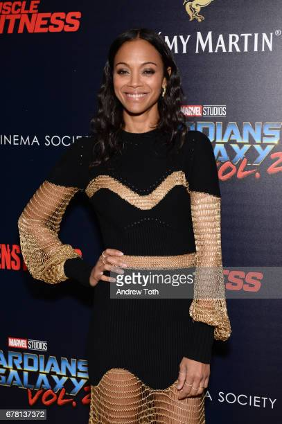 Zoe Saldana attends a screening of Marvel Studios' 'Guardians of the Galaxy Vol 2' hosted by The Cinema Society at the Whitby Hotel on May 3 2017 in...
