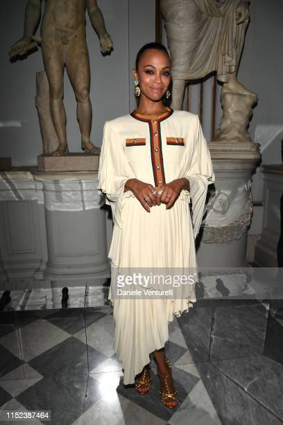 Zoe Saldana attends Gucci Cruise 2020 at Musei Capitolini on May 28 2019 in Rome Italy