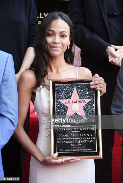 Zoe Saldana attends her star on the Hollywood Walk of Fame celebration ceremony on May 3 2018 in Hollywood California