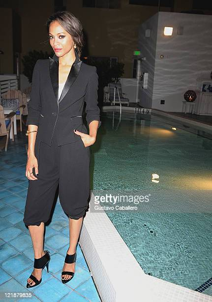 Zoe Saldana attends Miami Screening of TriStar Pictures' Colombiana After Party at Soho Beach House on August 22 2011 in Miami Beach Florida
