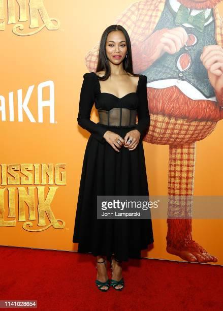 "Zoe Saldana attends ""Missing Link"" New York Premiere at Regal Cinema Battery Park on April 07, 2019 in New York City."