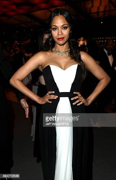 Zoe Saldana attends the 2015 Vanity Fair Oscar Party hosted by Graydon Carter at the Wallis Annenberg Center for the Performing Arts on February 22...