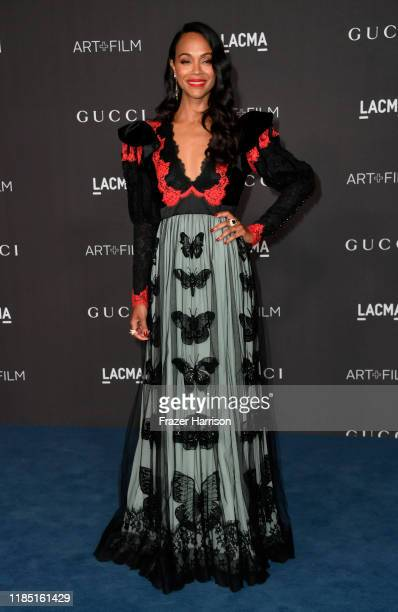 Zoe Saldana attends the 2019 LACMA 2019 Art Film Gala Presented By Gucci on November 02 2019 in Los Angeles California