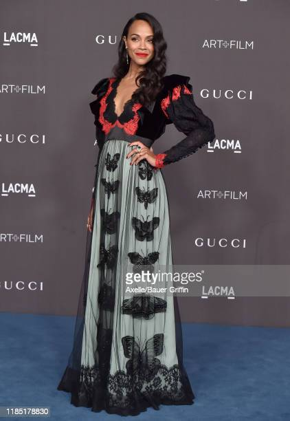 Zoe Saldana attends the 2019 LACMA Art Film Gala Presented By Gucci on November 02 2019 in Los Angeles California