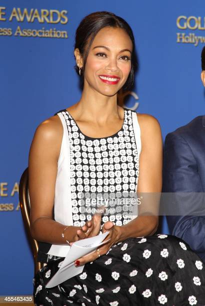 Zoe Saldana attends the 71st Annual Golden Globe Awards Nominations Announcement held at The Beverly Hilton on December 12 2013 in Beverly Hills...