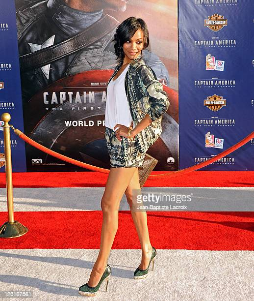 Zoe Saldana attends the Captain America The First Avenger Los Angeles Premiere at the El Capitan Theatre on July 19 2011 in Hollywood California