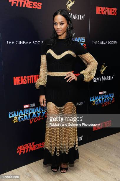 Zoe Saldana attends The Cinema Society Hosts A Screening Of Marvel Studios' 'Guardians Of The Galaxy Vol 2' Arrivals at the Whitby Hotel on May 3...
